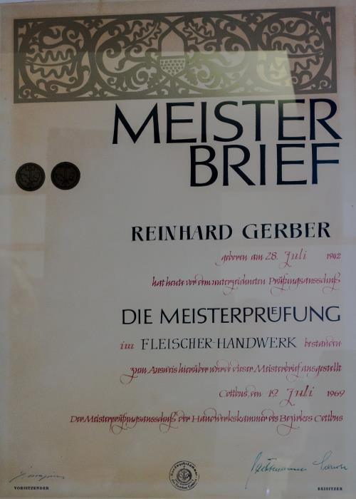 Fleischerei Gerber Meisterbrief